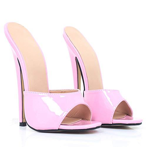 TIKENBST High Heels Fetisch Absätze Absatz 18CM Schuhe Leder Party Schuhe Frauen Sexy Open Toe Sommer Frühling Sandalen Hausschuhe,Pink-46