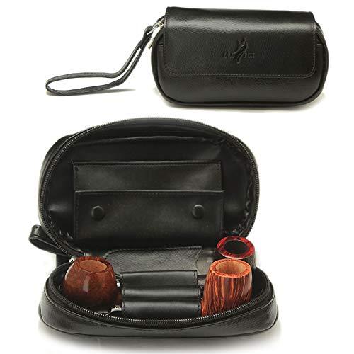 Pacote de cachimbo de fumo feito à mão, bolsa portátil de couro com zíper para viagem, bolsa de armazenamento multifuncional para preservar tabaco e cachimbo de fumar