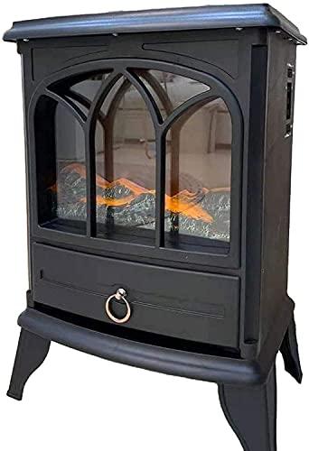 Foyers électriques autoportants Portables Poêle autoportant électrique Compact Feu Effet de Flamme LED réaliste, cheminée à Puissance Ultra Forte 1800W