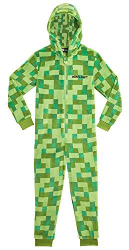 Minecraft Onesie, Jumpsuit Jungen, Kinder Schlafanzug, Super Soft Fleece Schlafoverall für Kinder und Jugendliche, Warm und Weich Kuschelanzug, Kinder (Grun, 9/10 Jahre)
