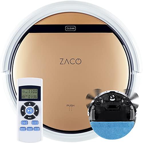 ZACO V5sPro – Robot Aspirapolvere – Robot Lavapavimenti e Aspirapolvere 2 in 1 Ultrapiatto – Efficace per peli di animali, ottimo per pavimenti duri e tappeti sottili –300 ml - Autoricarica – Oro