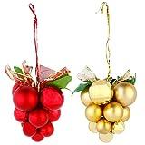 navidad adornos de arbol pared decoracion chinas bolas adorno-2 Piezas Adornos de Bolas de Navidad Rojo Dorado en Forma de UVA Adornos Navideños Colgantes para Navidad Interior Centro Comercial