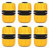 Topways® 6 pièces Hose Repair Connector , Connecteur à extension rapide pour tuyau de jardin 1/2' 13mm