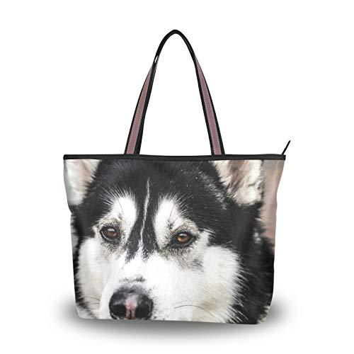 Perro Husky siberiano blanco y negro para mujeres, niñas, señoras, estudiantes, bolsos...