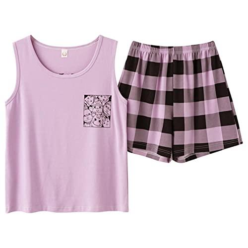 2021 verano fino algodón mujeres pijamas conjuntos chaleco ropa de dormir Tops pantalones cortos
