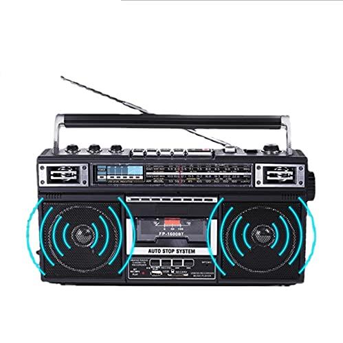 KOIJWWF Grabadora Retro, Soporte Radio de transcripción de Bluetooth, 70 80 90 90S Grabador, Pequeño Reproductor multifunción, Radio Especial para Ancianos