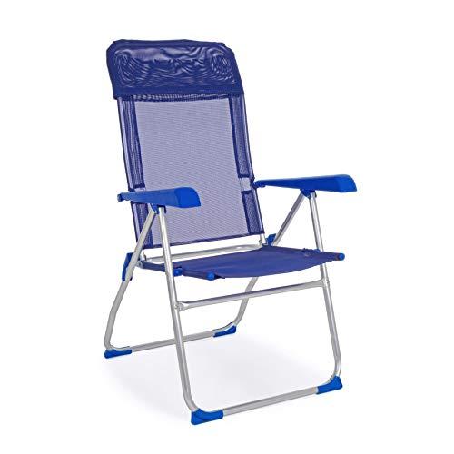 ARREDinITALY Lot de 4 chaises Longues Pliantes avec Dossier Haut en Aluminium et textilène Bleu