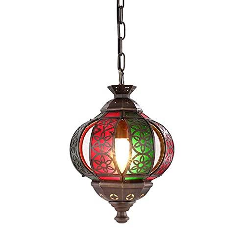 Lámpara colgante del vintage de estilo árabe Lámpara colgante de cobre accesorios de iluminación de estilo Tiffanye Style Restaurant Decoration Chandelier para la sala de estar Cafe Bar Art Gifts, 202