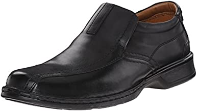 Clarks Men's Escalade Step Slip-on Loafer- Black Leather 12 D(M) US