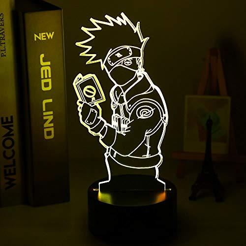 Lámpara de Anime 3D Naruto Uzumaki, luz de noche Led para niños, equipo 7 Kakashi Hatake, decoración de dormitorio infantil, luz de noche colorida, Sasuke Uchiha