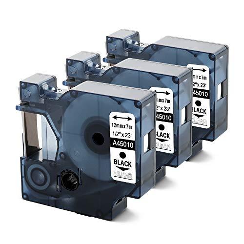 Anycolor kompatible Etikettenband als Ersatz für Dymo 45010 S0720500 schwarz auf transparent Etiketten 12mm x 7m für Dymo Beschriftungsgerät Label Manager 160, 210D, 280, 3er-Pack
