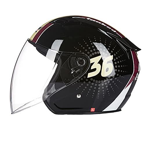 Casco de motocicleta unisex 3/4 con visera solar para motocicleta con visera para cuatro estaciones ciclomotores de calle Bobber Jet casco DOT/ECE aprobado en negro, D y L