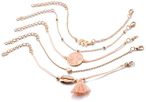 YS Bracelet Bohemian Map Heart Shell Set Women's Tassel Pendant Adjustable Layered Bracelet Bangle