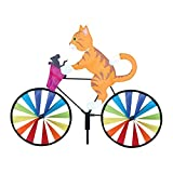 VICTSM 3D Animal on Bike Windmill Wind Spinner Garden Decorations,Cat Dog Wind Spinner Pole with Standing Vintage Bicycle Ornament,Lawn Yard Garden Home Outdoor Decor Toy (Cat)