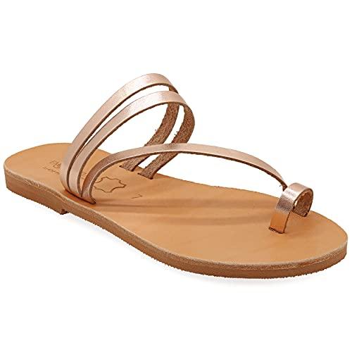36 Roségold Emmanuela Zehenring sandalen im griechischen Stil, hochwertige handgefertigte flache Riemchensandalen aus Leder, Sommerschuhe für Damen, Boho Chic Slider Sandalen