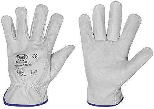 HandschuhMan. 12 Paar Arbeitshandschuhe aus weichem Rindleder Fahrerhandschuhe von StrongHand Gr. 8-12 (10/XL)