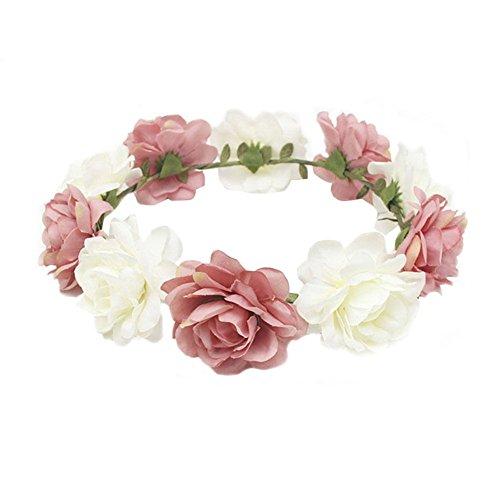 Blue Vesse Mode Frauen Hochzeit Haar Blumengirlande Krönen Stirnband Blumenkranz Haarband (rosa + weiß)