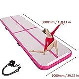 300x100x10cmair tracking matte aufblasbare gymnastik airtrack mit Elektrische Luftpumpe für Praxis Gymnastik, Cheerleading, Tumbling, Parkour und Kampfkünste (pink+Electric Pump)