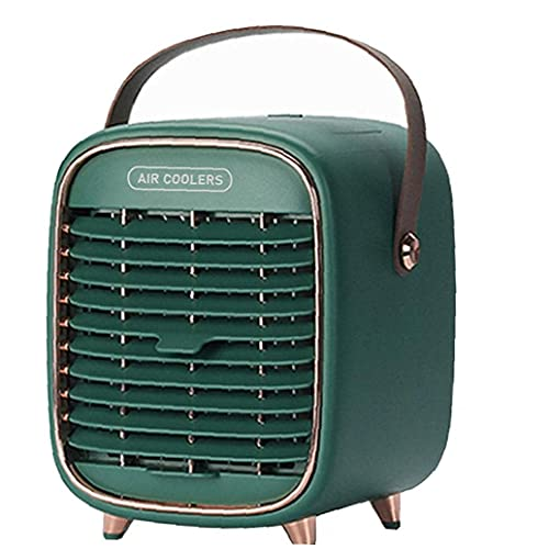 JANEFLY Air Conditioner Fan 2000mah Chargeable Portable Air Cooler Desk Fan 3 Speeds Mini Evaporative Cooler with Handle for Home Office Heat Removal Green