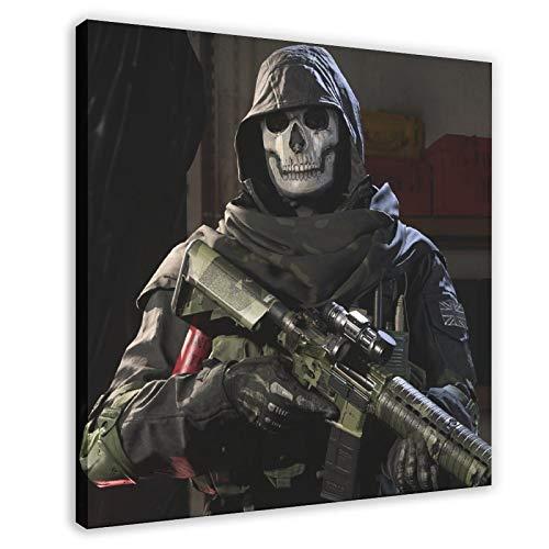 Póster de Call of Duty Ghosts en primera persona juego de disparos 4 lienzo para decoración de la sala de estar, dormitorio, 70 x 70 cm, marco1