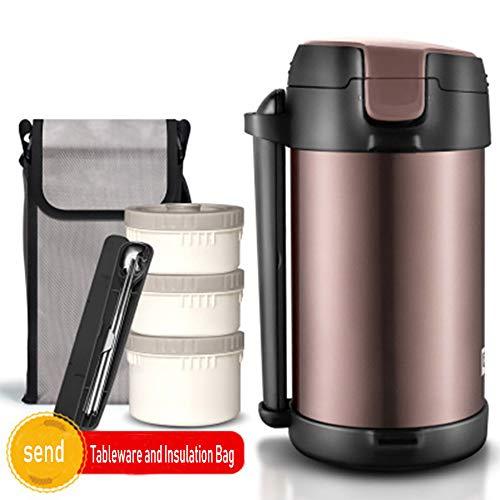 YHML Lunch Box Vakuum-Edelstahl-304 Insulated Lunch Box, 360 ° Leak-Proof Ohne BPA, 2.2L Große Kapazitäts-3 Schicht-Student Lunch Box 12 Stunden Im Winter,Braun