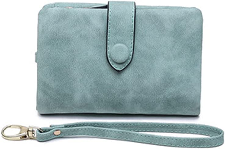 Mostiny Women's Small Bifold Leather wallet Rfid blocking Ladies Wristlet with Card holder id window Coin Purse (Mint green)