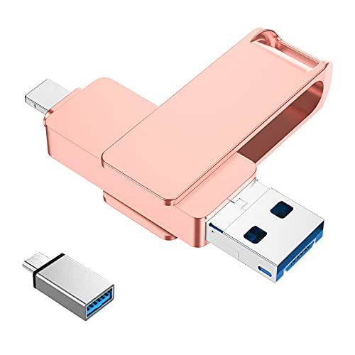 Usb Stick Kompatibel Mit Iphone 128Gb 4 In 1 Speichererweiterung Handy Usb 3.0 Flash Drive Kompatibel Mit Ios Otg Andriod Handy Computer Laptop Pc(Gold)