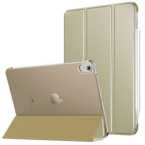 MoKo Hülle Kompatibel mit iPad Air 4. Generation 2020 iPad 10.9 Zoll2020 Tablet, [Unterstützt 2. Gen iPencil Laden] PU Leder Tasche Transluzent Rückseite Schutzhülle Auto Schlaf/Wach, Champagner Gold
