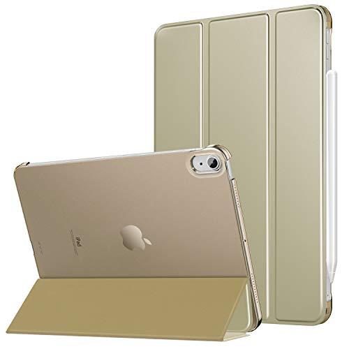 MoKo Case Fit iPad Air 4th Generation 2020 Case New iPad 10.9 2020 - [Support iPencil 2 Charging] Slim Smart Shell Stand Cover with Translucent Frosted Back Protector Auto Wake/Sleep, Champagne Gold