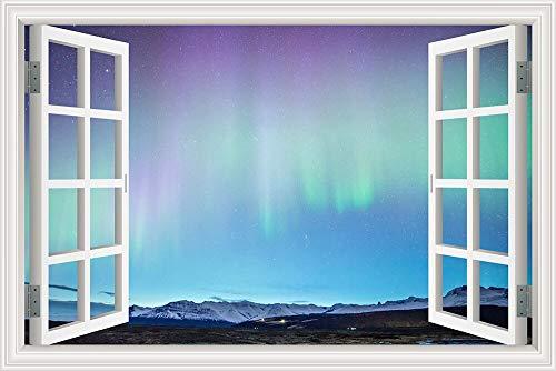 Deslumbrante Hermosa noche de invierno Cielo estrellado Ártico Aurora Púrpura Paisaje de nieve Etiqueta de la pared Vinilo Mural Ventana 3D Vista PVC Calcomanía Dormitorio decoración del hogar