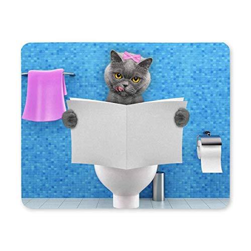 Mauspads Lustige Katze sitzt auf einer Toilette mit Klatschmagazin oder Zeitungsrechteck Rutschfeste Gummi-Mauspad-Gaming-Mousepad-Matte für Büro Home Frau Mann Angestellter Chef Arbeit mit Designs