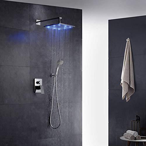 CELO Rubinetto da Incasso A LED Ad Acqua Calda E Fredda A Parete per Bagno Set Doccia A Mano Interamente in Rame