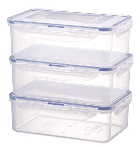 LOCK & LOCK Frischhaltedosen im 3er Set – stapelbare Vorratsdosen aus hochwertigem, transparentem Kunststoff, bpa-frei – auslaufsicher – rechteckig, 3 x 1 Liter