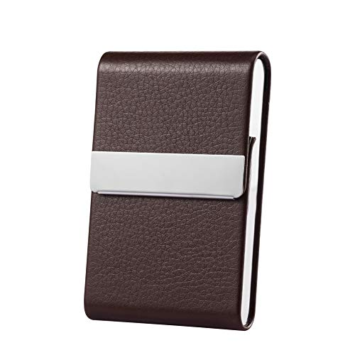 Business Card Holder Case Professional Luxury PU Leather & Stainless Steel Metal Name Card Holder Credit Card ID Wallet for Men & Women with Magnetic Shut (Brown)