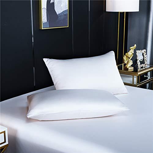 Blankspace Funda de almohada de seda de morera, 51 x 76 cm, funda de almohada de seda natural, color sólido, funda de almohada (color: blanco, tamaño: 40 x 60 cm, 1 unidad)