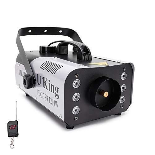 U`King Nebelmaschine 1200W Rauchmaschine mit kabelloser Fernbedienung und 6 Buntes LED Licht für Weihnachten Halloween Hochzeit Bühneneffekt DJ Disco Party Bühne
