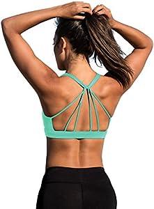 icyzone Sujetador Deportivo Yoga Diseño de Tirantes Cruzados en la Espalda Ejercicio Fitness Ropa Interior para Mujer (M, Cayos de Florida)