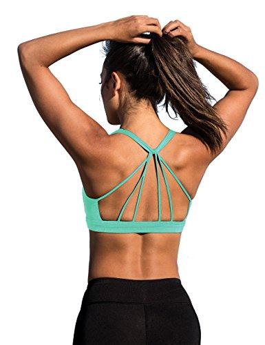 icyzone Yoga Sport-BH Damen Bustier mit Gepolstert - Atmungsaktiv Ohne Bügel Sports Bra Top (S, Florida Keys)