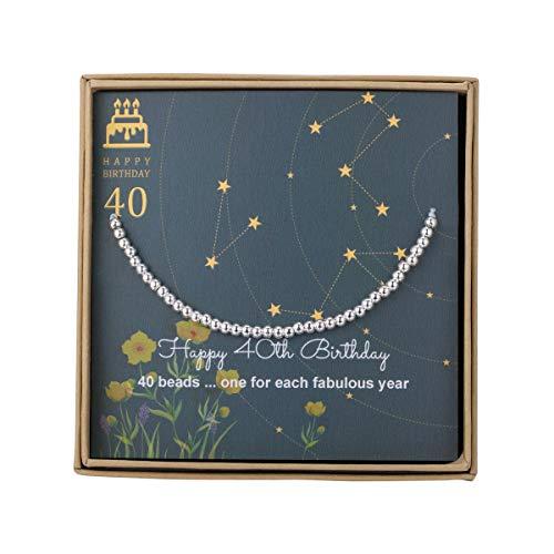 Pulsera de cuentas de plata de ley para regalo de 40 cumpleaños para mujer, con cordón ajustable de 17,78 cm a 22,86 cm