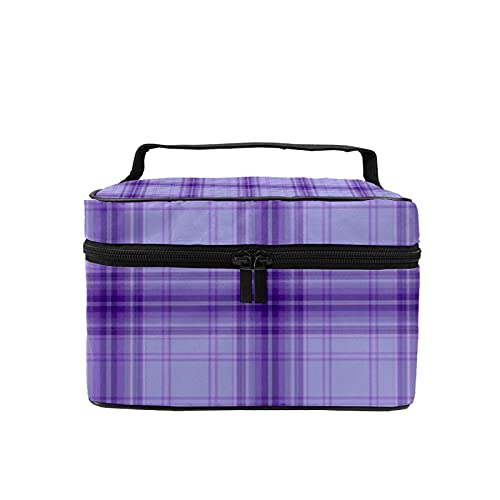 Bolsa de maquillaje de viaje, bolsa de cosméticos grande, color morado