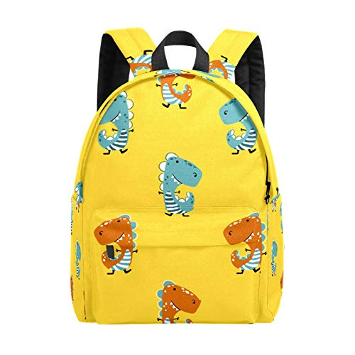 Kid's Backpacks Dinosaur Yellow Funny Children Cartoon Rucksack Cute Student School Book Bags