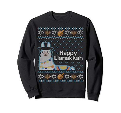Funny Ugly Hanukkah Sweater Llama Llamakkah Gift