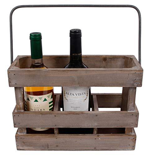 hLine Weinkiste aus Holz Weinträger Geschenk für Weinliebhaber