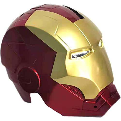 WXHJM Iron Man Casco Máscara,Cascos de Halloween Cosplay Película,Superhéroe ABS Máscaras Luminosos Casco de Iron Man de Los Vengadores de Marvel Legends(Color : Red, Size (55CM))