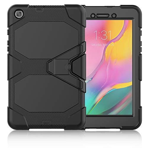 SDTEK Case Compatible with Samsung Galaxy Tab A (8 inch) 2019 Strong Rugged Tablet Cover with Built in Screen Protector, Pen Holder and Stand (Black)