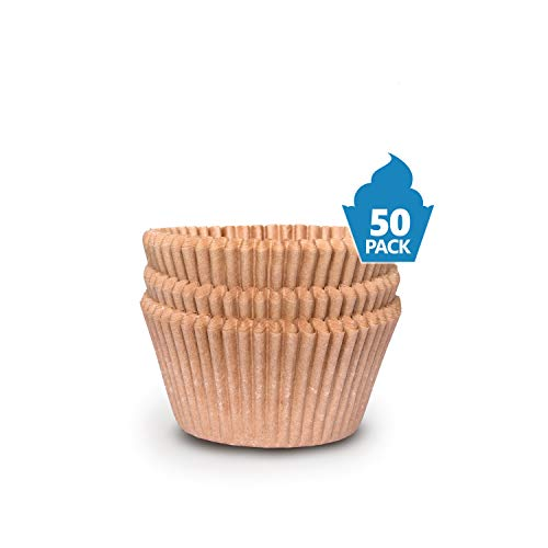Cupcake Baking Cup Liner - Jumbo Size Extra Thick Unbleached Brown Disposable Cup Parchment Liner for Baking- Food Grade No Smell - Muffin Paper Baking Cups by NextClimb Pack of 50