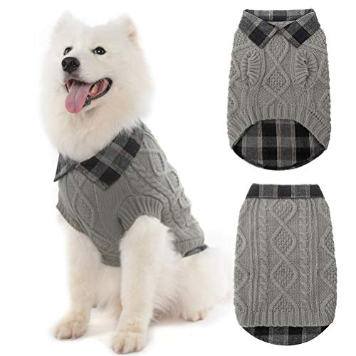 Warm Dog Sweater Winter Clothes - Plaid Patchwork Pet Doggy Knitted Sweaters Comfortable Coats for Cold Weather, Fit for Small Medium Large Dogs