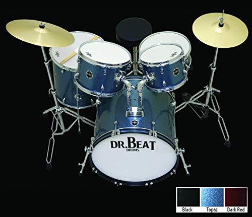 batería acústica Dr. Beat One, juego de 5pcs con hardware, planos, taburete, palillos y colores Sparkle