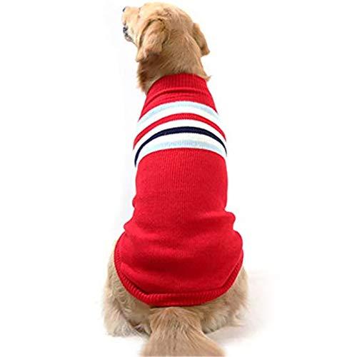 Suéter para mascotas Jersey a rayas Chaleco invierno frío cuello alto cálido abrigo lana