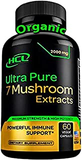Organic Mushroom Supplement Extracts of Lions Mane Cordyceps Chaga Reishi Turkey Tail Maitake Shiitake Capsules - Natural ...